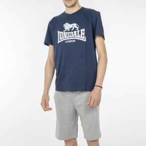 PIGIAMA UOMO LONSDALE SET T-SHIRT + SHORTS LOUPE18153 REAL NAVY/LIGHT GREY MELANGE