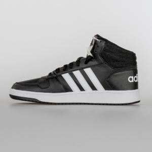 SCARPA UOMO ADIDAS HOOPS 2.0 MID BB7207 BLACK WHITE